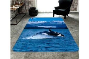 """3D Mountain Sea Dolphin 219 Non Slip Rug Mat, 120cmx180cm (47.2""""x70.9"""")"""