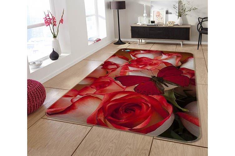"3D Flowers And Butterfly 218 Non Slip Rug Mat, 140cmx200cm (55.1""x78.8"")"