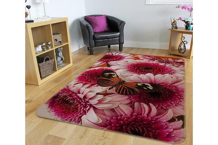"""3D Red Flowers Butterfly 217 Non Slip Rug Mat, 60cmx90cm (23.6""""x35.4"""")"""
