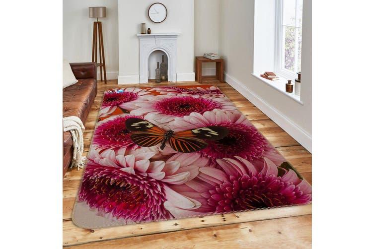 """3D Red Flowers Butterfly 217 Non Slip Rug Mat, 140cmx200cm (55.1""""x78.8"""")"""