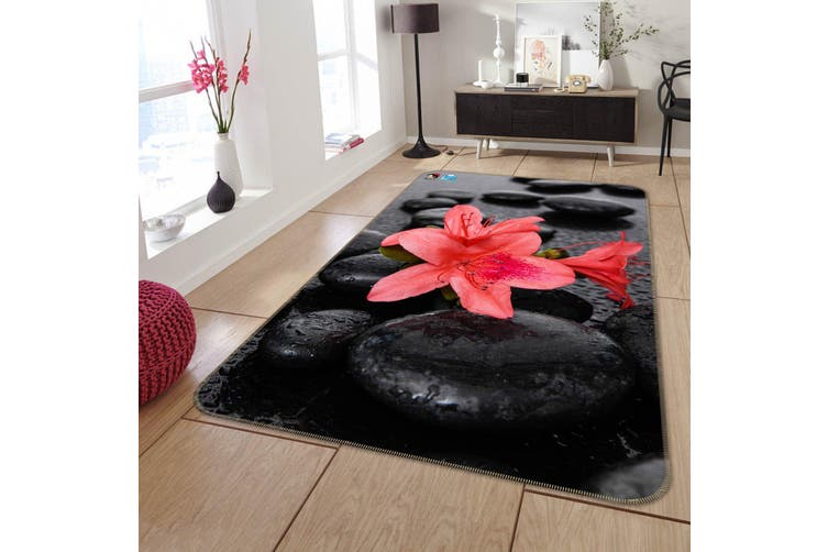 "3D Flowers Stones 215 Non Slip Rug Mat, 120cmx180cm (47.2""x70.9"")"