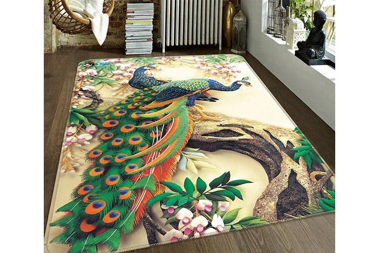 """3D Flowers Tree Peacocks 186 Non Slip Rug Mat, 120cmx180cm (47.2""""x70.9"""")"""