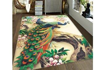 """3D Flowers Tree Peacocks 186 Non Slip Rug Mat, 140cmx200cm (55.1""""x78.8"""")"""