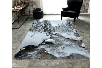"""3D Snow Forest River 181 Non Slip Rug Mat, 120cmx180cm (47.2""""x70.9"""")"""