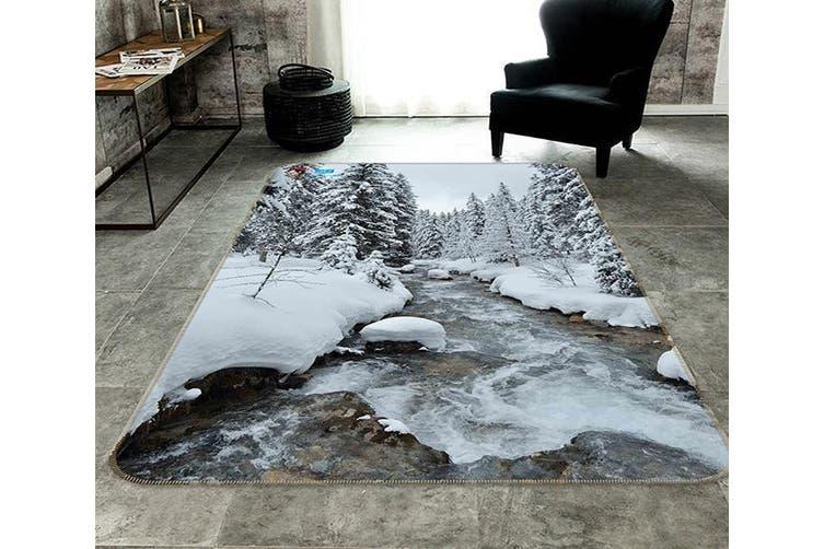 """3D Snow Forest River 181 Non Slip Rug Mat, 140cmx200cm (55.1""""x78.8"""")"""