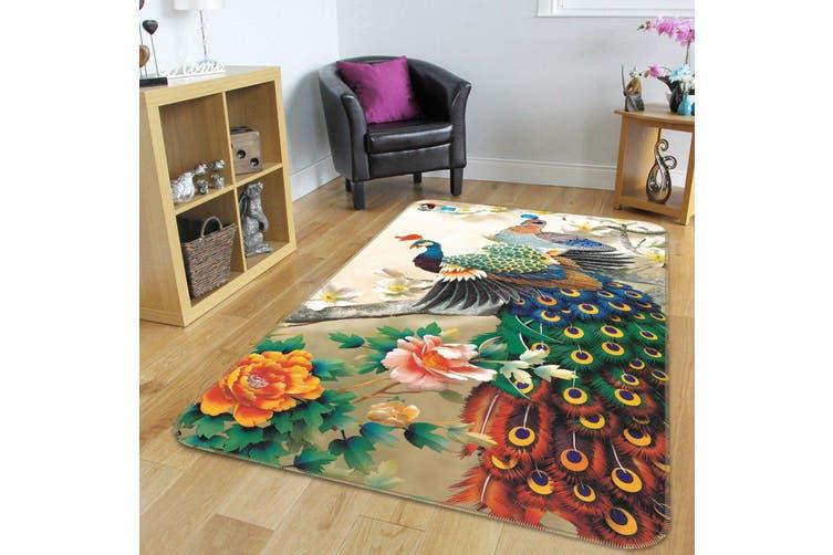 """3D Flowers Tree Peacocks 175 Non Slip Rug Mat, 40cmx60cm (15.7""""x23.6"""")"""
