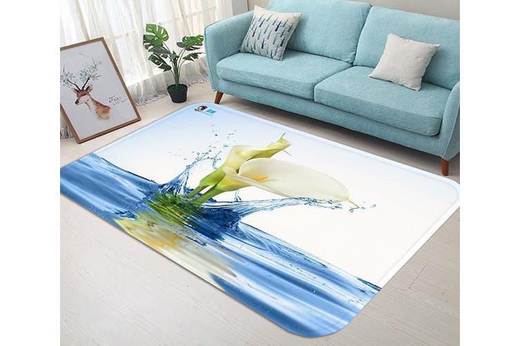 """3D Pure White Flowers 78 Non Slip Rug Mat, 120cmx180cm (47.2""""x70.9"""")"""