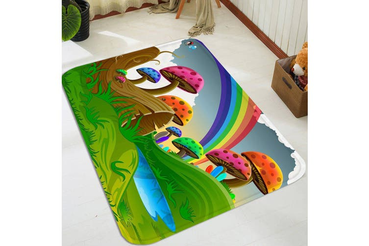 "3D Cartoon Mushrooms Rainbow 76 Non Slip Rug Mat, 120cmx180cm (47.2""x70.9"")"