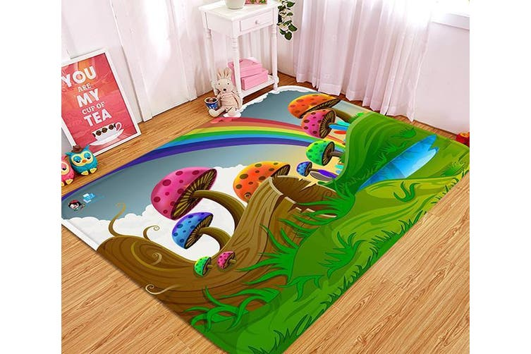 "3D Cartoon Mushrooms Rainbow 76 Non Slip Rug Mat, 140cmx200cm (55.1""x78.8"")"