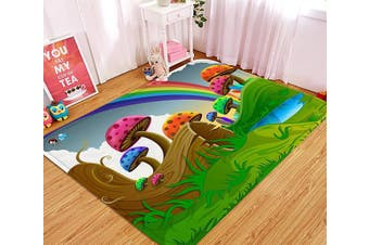"3D Cartoon Mushrooms Rainbow 76 Non Slip Rug Mat, 160cmx240cm (63""x94.5"")"