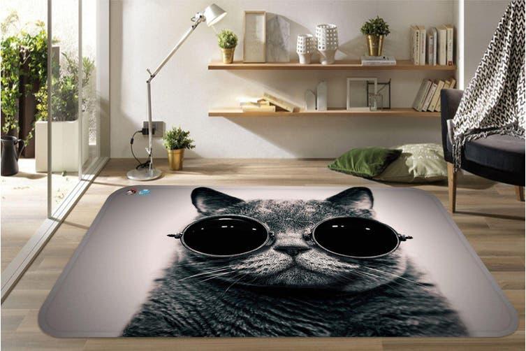 """3D Wearing Glasses Cat 51 Non Slip Rug Mat, 60cmx90cm (23.6""""x35.4"""")"""