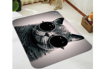 """3D Wearing Glasses Cat 51 Non Slip Rug Mat, 160cmx240cm (63""""x94.5"""")"""