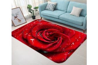 "3D Red Rose Dews 48 Non Slip Rug Mat, 60cmx90cm (23.6""x35.4"")"