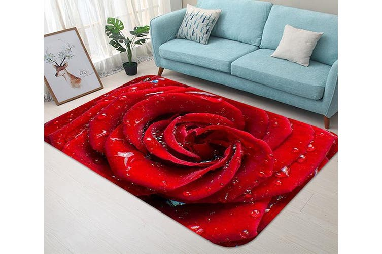 "3D Red Rose Dews 48 Non Slip Rug Mat, 140cmx200cm (55.1""x78.8"")"