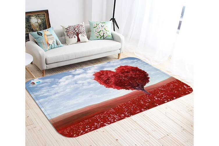 "3D Red Heart Shaped Tree 49 Non Slip Rug Mat, 120cmx180cm (47.2""x70.9"")"