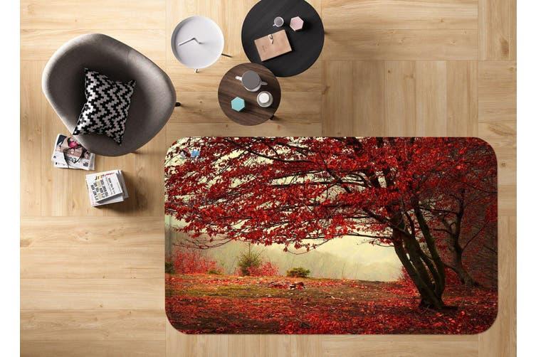 """3D Tree Red Leaves 46 Non Slip Rug Mat, 80cmx120cm (31.4""""x47.24"""")"""