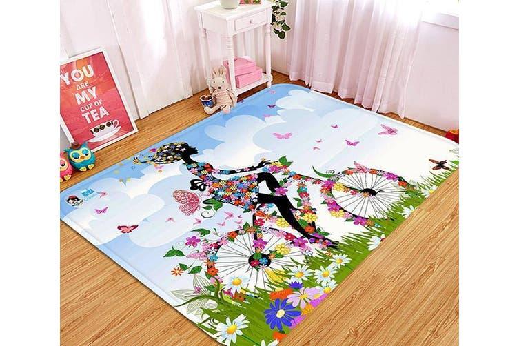 "3D Flowers Girl Cycling 43 Non Slip Rug Mat, 140cmx200cm (55.1""x78.8"")"