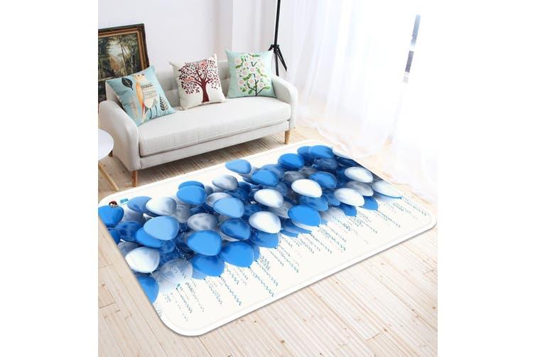 """3D Blue And White Balloons 29 Non Slip Rug Mat, 160cmx240cm (63""""x94.5"""")"""