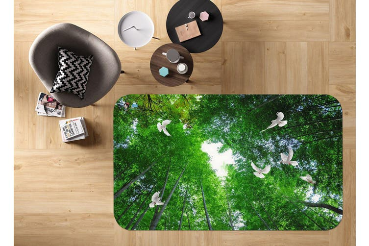 "3D Bamboo Forest Flying Birds 21 Non Slip Rug Mat, 160cmx240cm (63""x94.5"")"