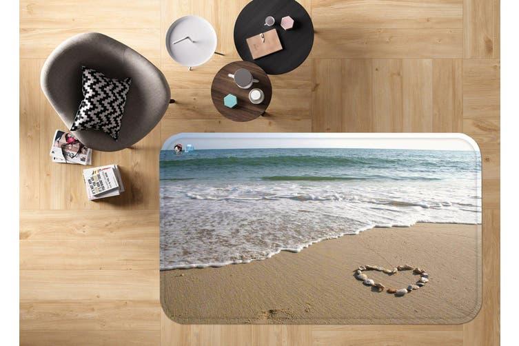"""3D Beach Heart Shape 19 Non Slip Rug Mat, 60cmx90cm (23.6""""x35.4"""")"""