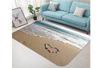"""3D Beach Heart Shape 19 Non Slip Rug Mat, 80cmx120cm (31.4""""x47.24"""")"""