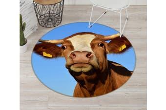 3D Yellow Bull Head 029 Animal Round Non Slip Rug Mat, 160cm(63'')