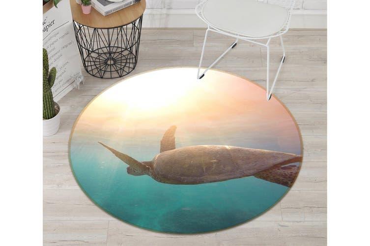 3D Turtle 081 Animal Round Non Slip Rug Mat, 200cm(78.7'')