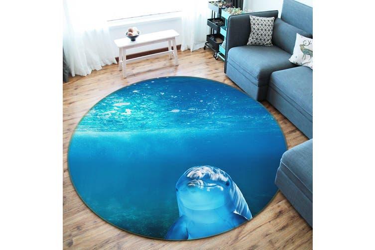 3D Dolphin 082 Animal Round Non Slip Rug Mat, 100cm(39.4'')