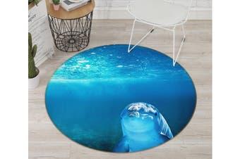 3D Dolphin 082 Animal Round Non Slip Rug Mat, 200cm(78.7'')
