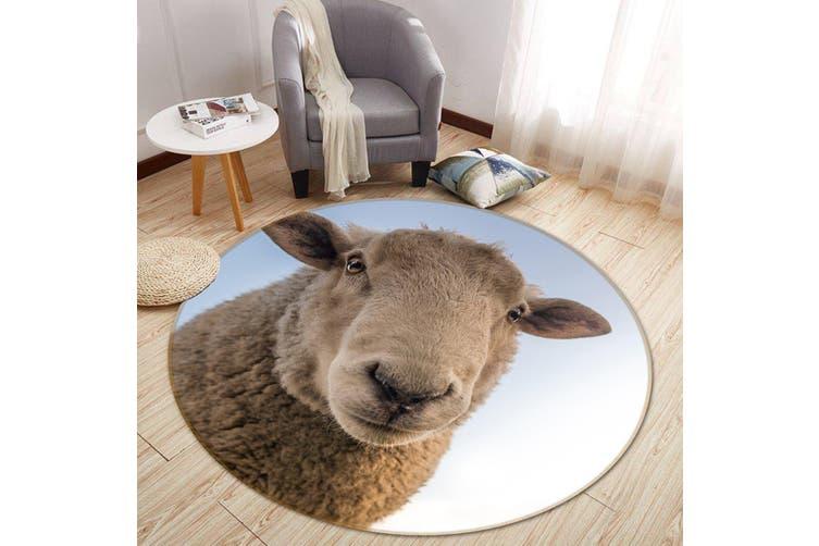 3D Sheep Head 091 Animal Round Non Slip Rug Mat, 160cm(63'')