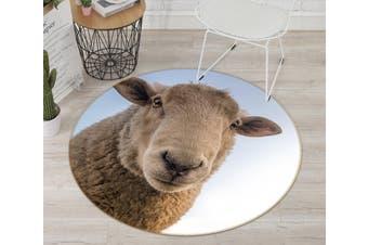 3D Sheep Head 091 Animal Round Non Slip Rug Mat, 180cm(70.9'')