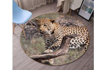 3D South African Leopard 093 Animal Round Non Slip Rug Mat, 60cm(23.6'')