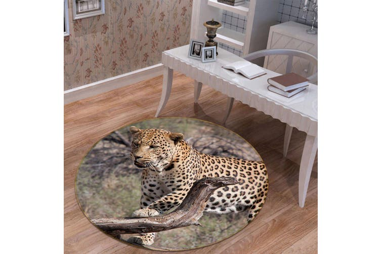 3D South African Leopard 093 Animal Round Non Slip Rug Mat, 100cm(39.4'')