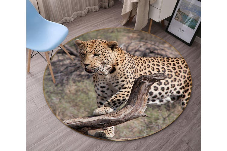 3D South African Leopard 093 Animal Round Non Slip Rug Mat, 120cm(47.2'')