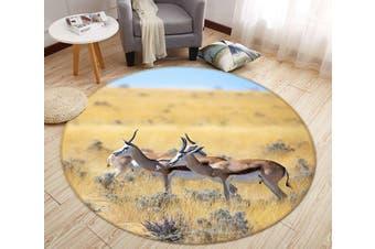 3D Prairie Antelope 094 Animal Round Non Slip Rug Mat, 120cm(47.2'')