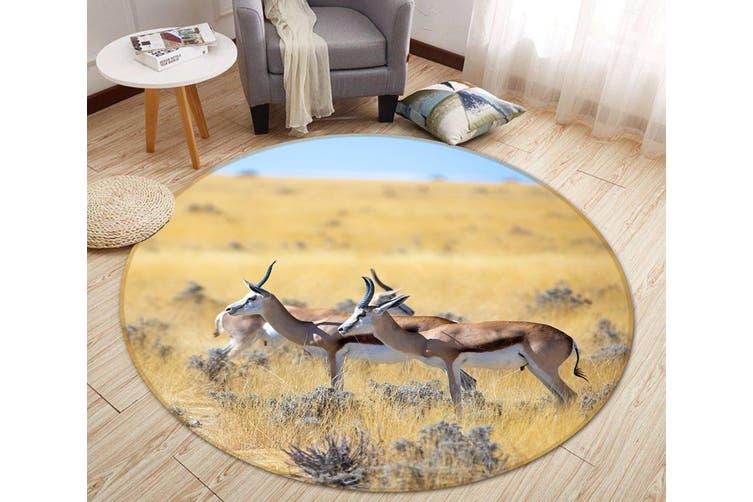 3D Prairie Antelope 094 Animal Round Non Slip Rug Mat, 180cm(70.9'')