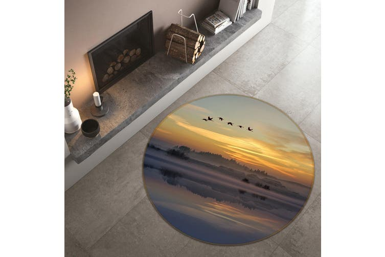 3D Big Geese Flying South 095 Animal Round Non Slip Rug Mat, 60cm(23.6'')