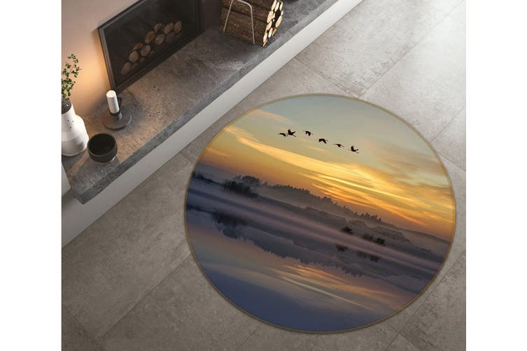 3D Big Geese Flying South 095 Animal Round Non Slip Rug Mat, 200cm(78.7'')
