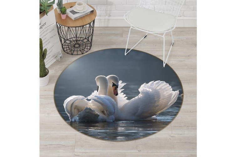 3D Swan 096 Animal Round Non Slip Rug Mat, 100cm(39.4'')