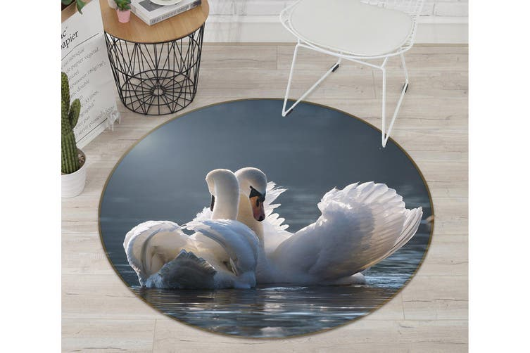 3D Swan 096 Animal Round Non Slip Rug Mat, 160cm(63'')