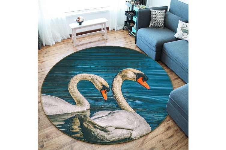 3D Swan Lake 097 Animal Round Non Slip Rug Mat, 100cm(39.4'')