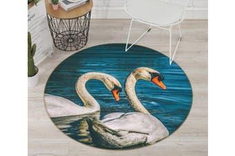 3D Swan Lake 097 Animal Round Non Slip Rug Mat, 160cm(63'')