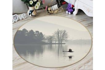 3D Bird Lake 098 Animal Round Non Slip Rug Mat, 180cm(70.9'')