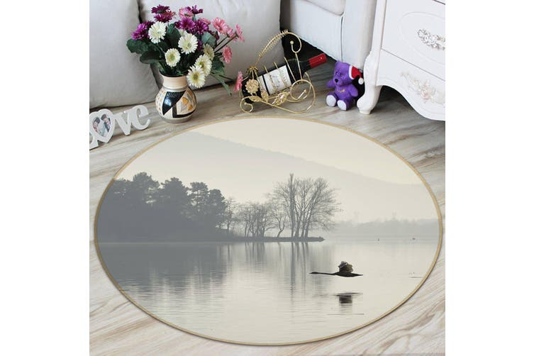 3D Bird Lake 098 Animal Round Non Slip Rug Mat, 200cm(78.7'')
