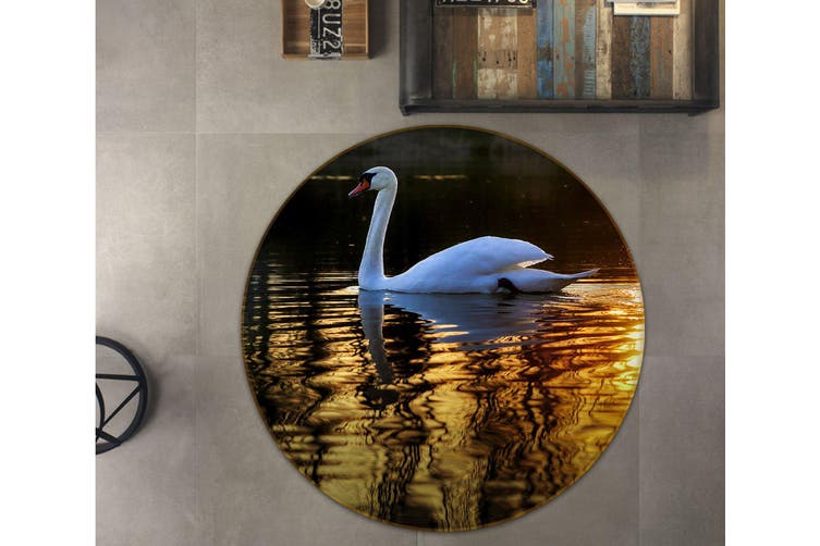3D Swan Swimming 099 Animal Round Non Slip Rug Mat, 160cm(63'')