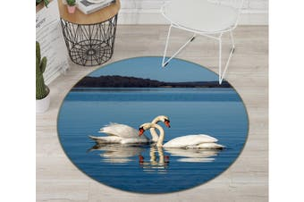 3D Swan Splashing Water 100 Animal Round Non Slip Rug Mat, 60cm(23.6'')