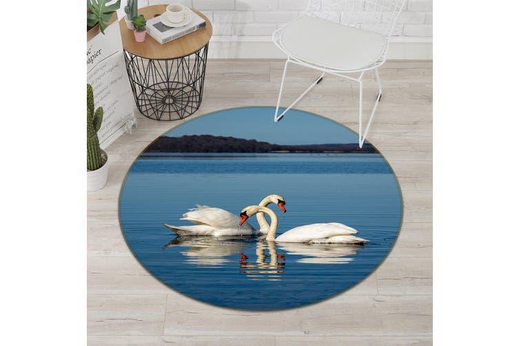 3D Swan Splashing Water 100 Animal Round Non Slip Rug Mat, 160cm(63'')