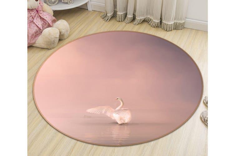 3D Swan Spreading Wings 102 Animal Round Non Slip Rug Mat, 180cm(70.9'')