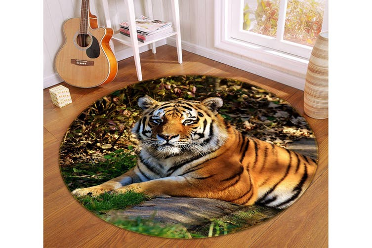 3D Tiger 105 Animal Round Non Slip Rug Mat, 120cm(47.2'')