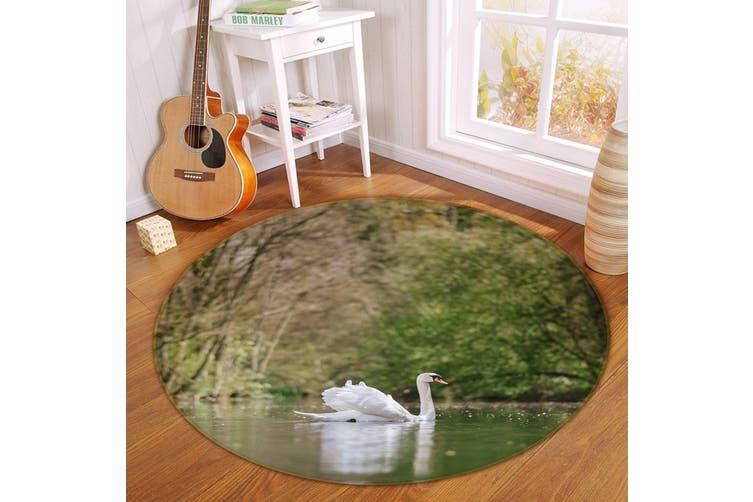 3D White Swan Swimming 108 Animal Round Non Slip Rug Mat, 100cm(39.4'')
